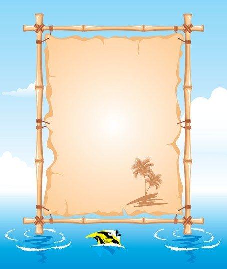 Vector Beach Theme Bulletin Board Clipart Picture.