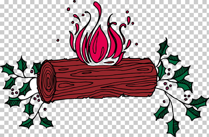 Yule log Christmas Winter solstice , A wooden stake flame.