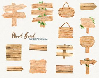 Watercolor wooden sign clipart, wood clipart, Rustic wood.