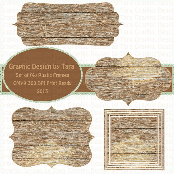 NEW Rustic Wood Frames Clip Art For by graphicdesignbytara.