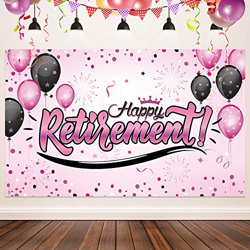 Happy Retirement Party Decorations, Giant Black and Gold Sign Retirement  Party Banner Photo Booth Backdrop Background for Happy Retirement Party.