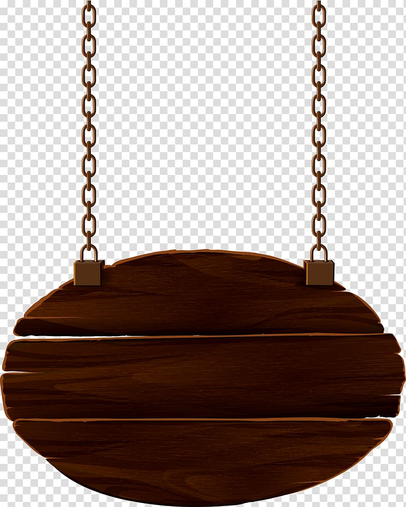Oval brown wooden decor with chain illustration, Wood, Wood signs.
