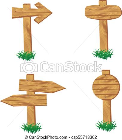 Wooden signpost standing in grass set isolated.