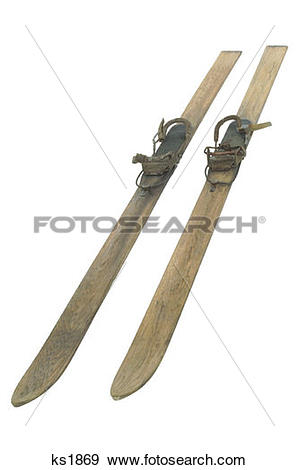 Stock Photograph of Antique wooden skis ks1869.