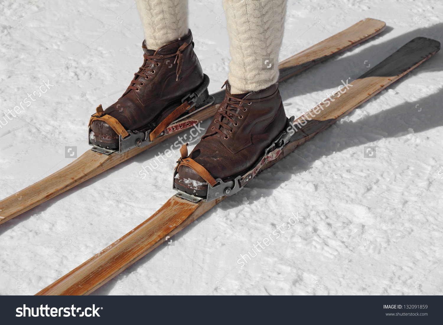 Old Wooden Skis Leather Ski Boots Stock Photo 132091859.