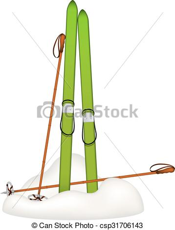 EPS Vector of Old wooden skis and old ski poles standing in snow.