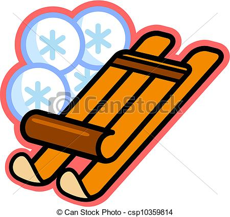Clipart of Illustration of a wooden sled and snowflakes.