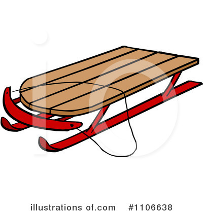 Clip Art Of A Old Sled Clipart.