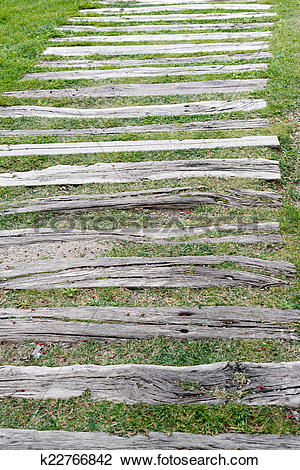 Stock Photo of garden wooden sleepers k22766842.