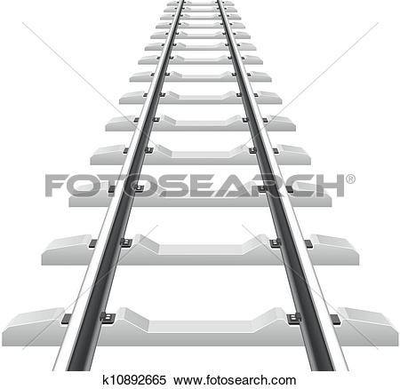 Clip Art of rails concrete and wooden sleepers k10892666.