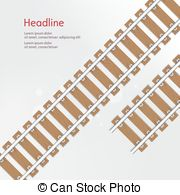 Clip Art Vector of rails with wooden sleepers vector illustration.