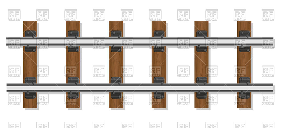Railway rails and wooden sleepers Vector Image #105019.