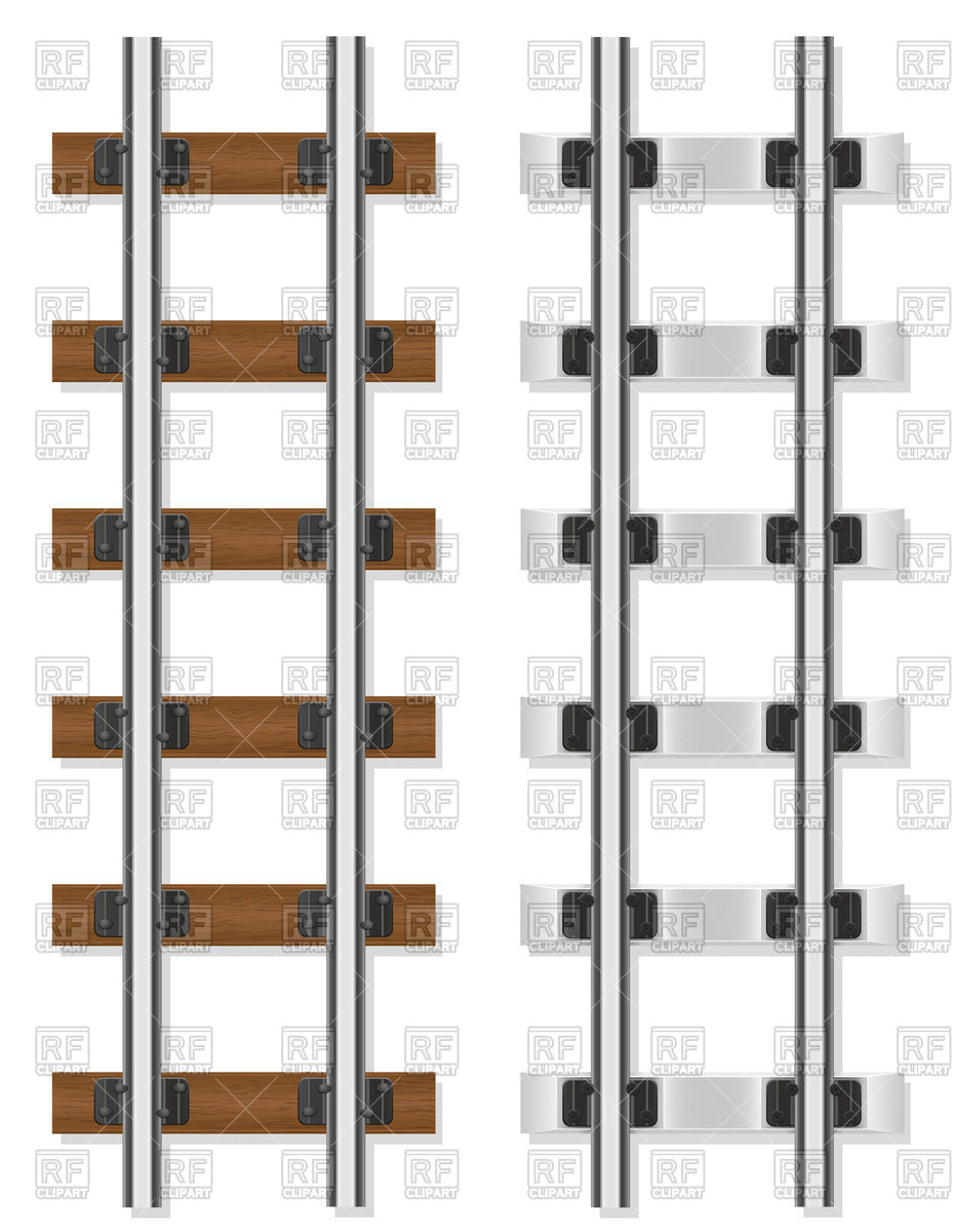 Railway rails wooden and concrete sleepers Vector Image #105021.