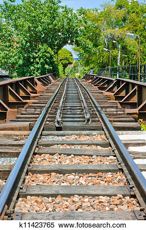 Stock Image of Rails resting on traditional wooden sleepers.