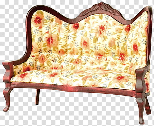 Floral padded brown wooden sofa transparent background PNG.