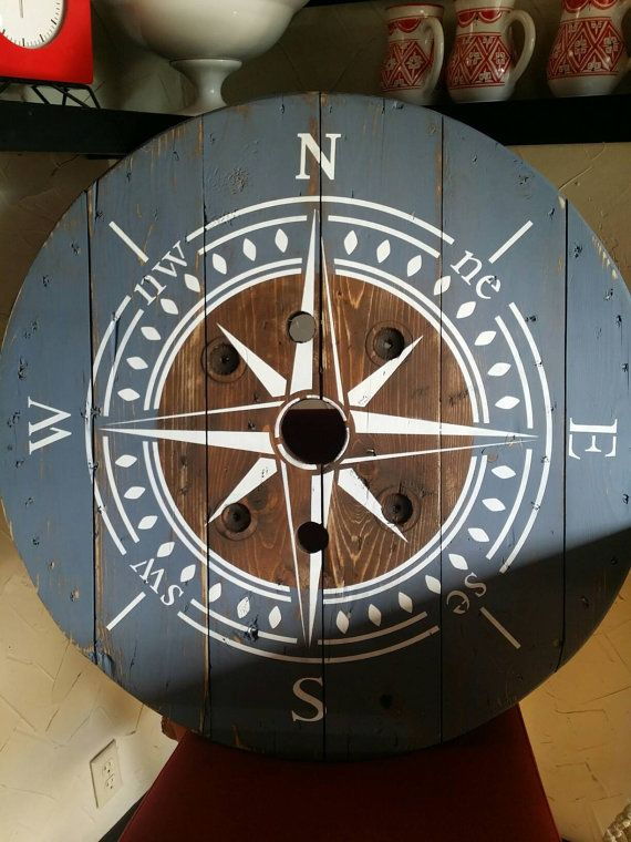 Recycled Wooden Wire Spool Wall Clock.
