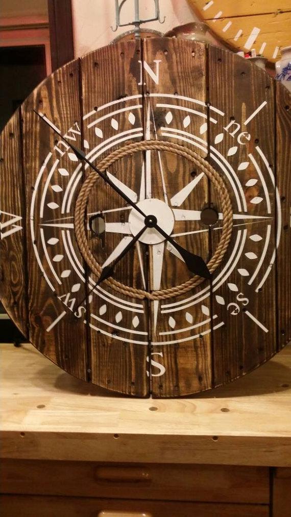 Nautical 32 inch Wooden Wire Spool Clock / Housewarming Gift.