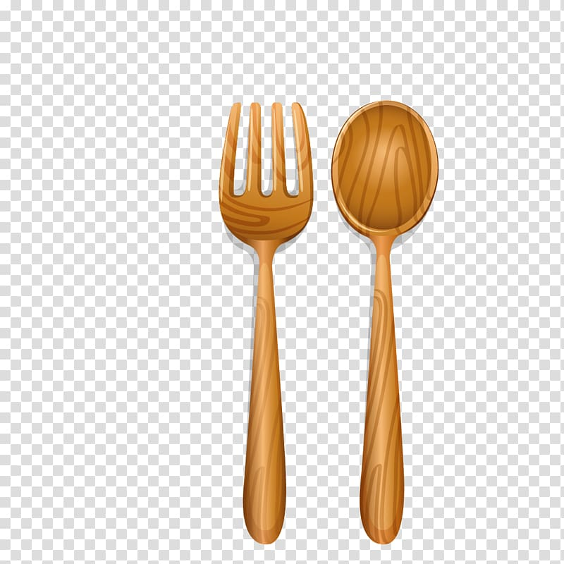 Brown wooden spoon and fork illustration, Knife Wooden spoon.