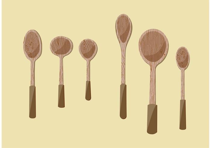 Wooden Spoon Vector Illustrations.