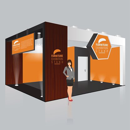 Creative exhibition stand design. Booth template. Corporate.
