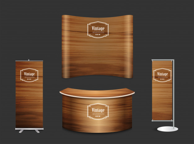 Blank trade show booth exhibition stand wood texture.
