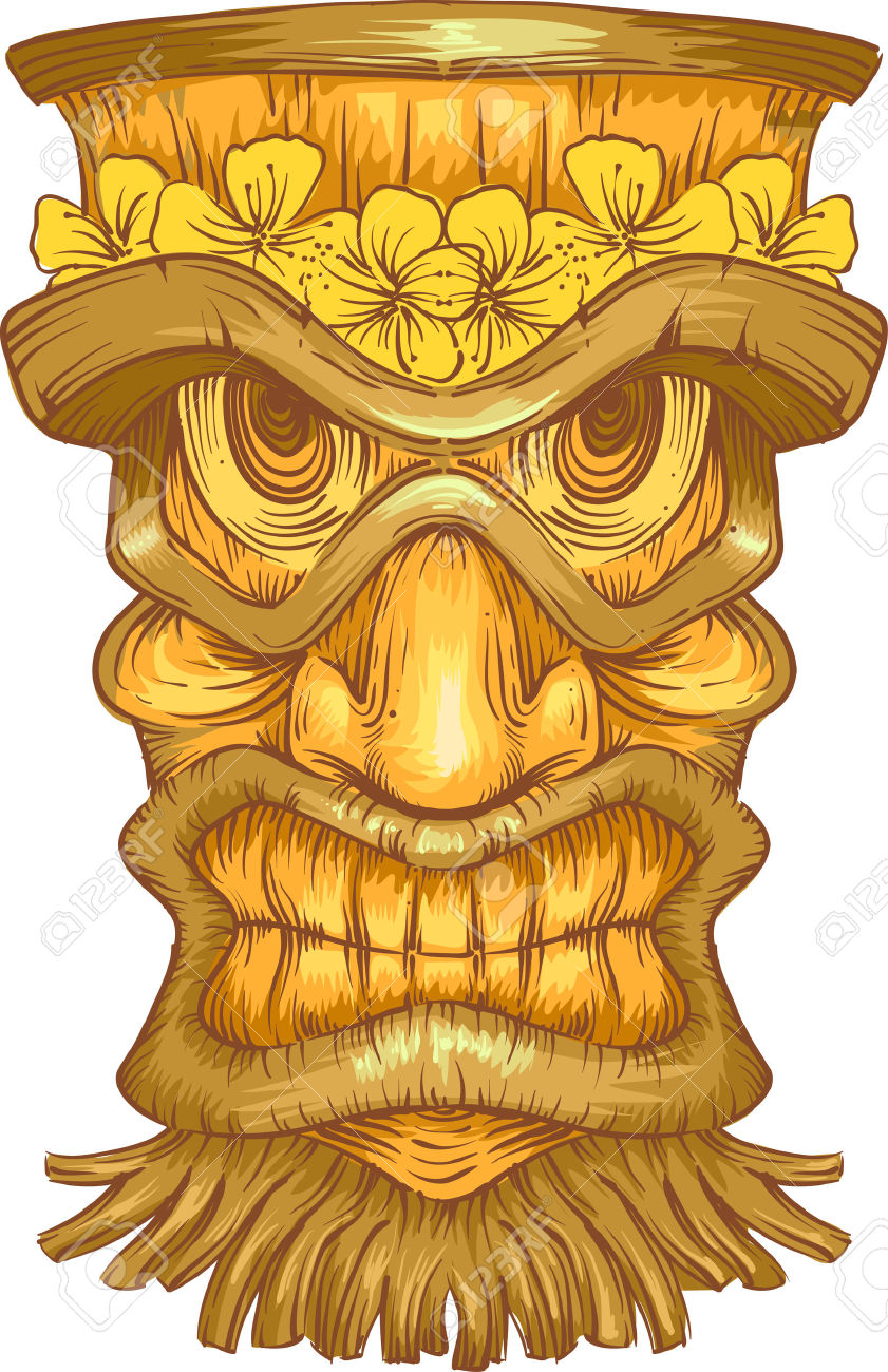 Illustration Of A Golden Wooden Statue With Tiki Carvings Stock.
