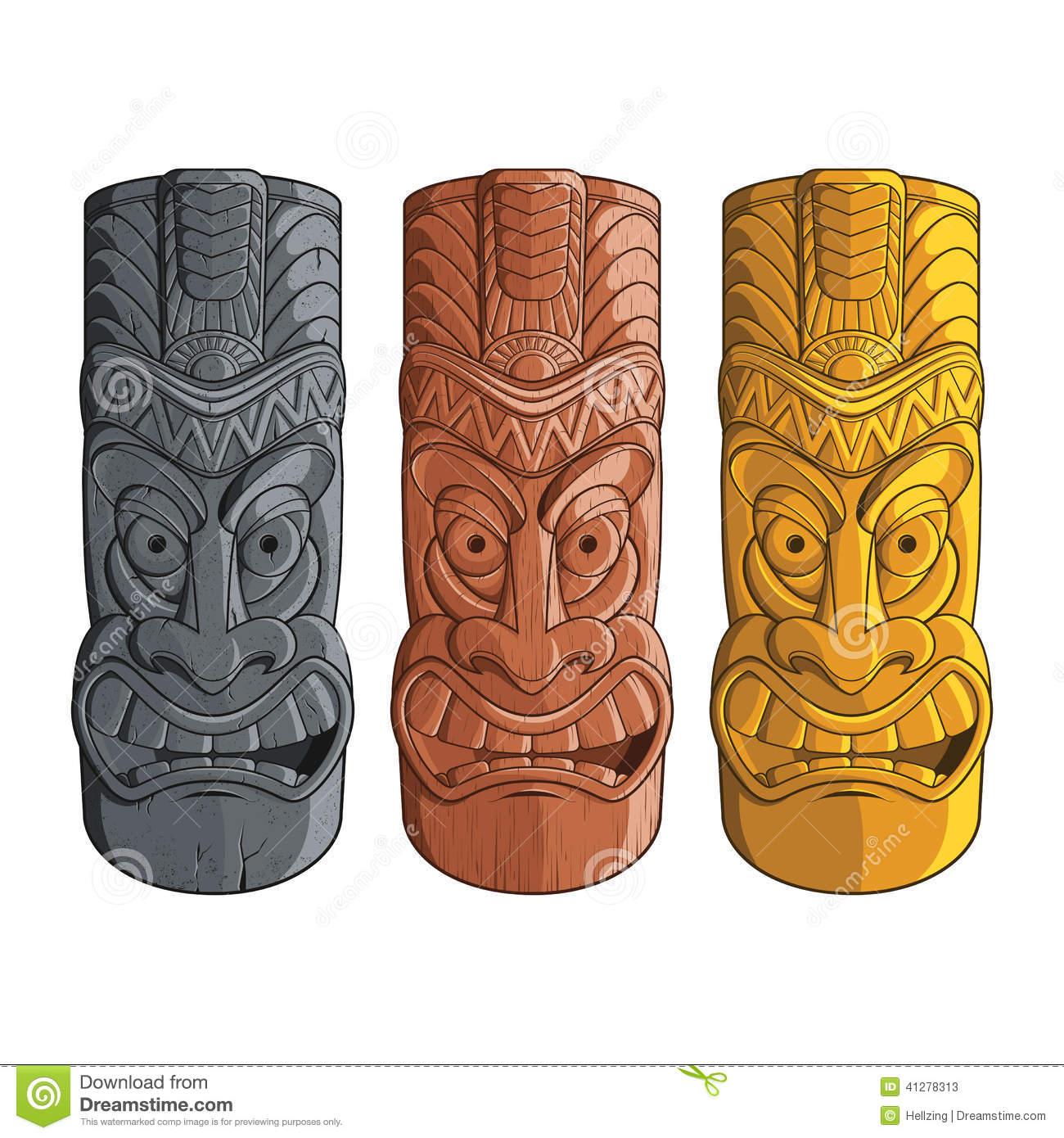 Tiki Idol Carved On Wood. Royalty Free Stock Photos.