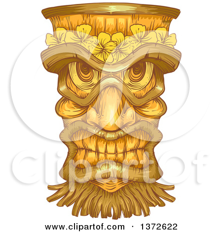 Clipart of a Wooden Tiki Statue.