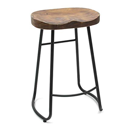 Caveen Vintage Bar Stool Retro Bar Seat Industrial Dining Chair 25.6 Inch  Wooden.
