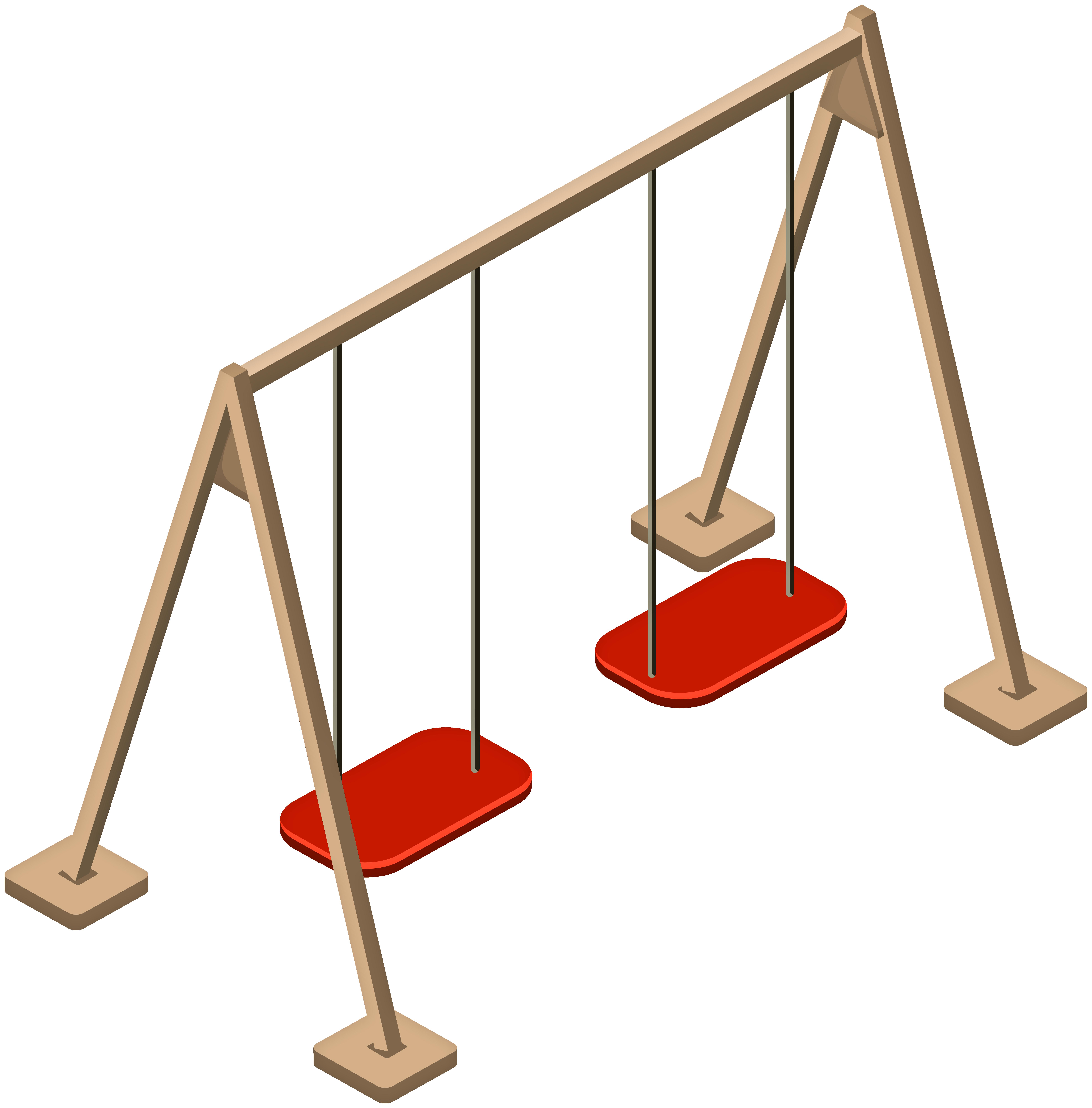 Double Wooden Swing PNG Clip Art.