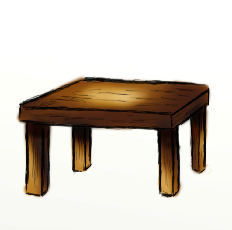 A wooden table clipart.
