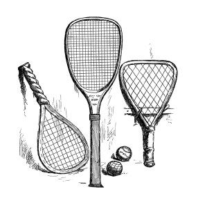 vintage tennis clip art, antique sports racket, black and.