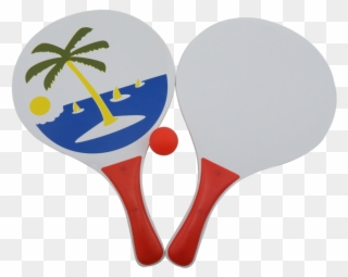 New Design Wooden Beach Tennis Racket For Beach Game Clipart.