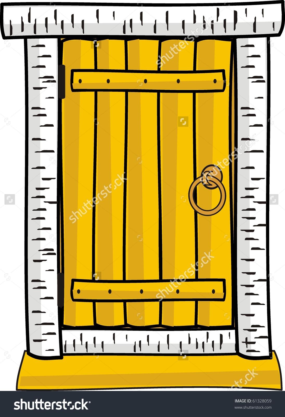 Vector Illustration Wooden Door Isolated Cartoon Stock Vector.