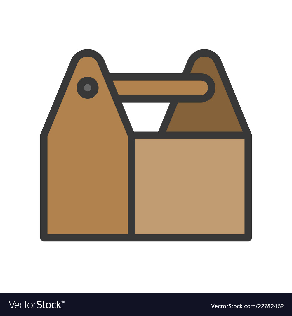 Wooden tool box filled outline icon carpenter and.