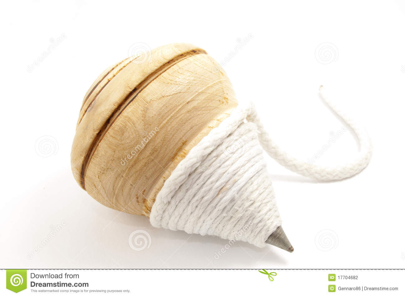 Wooden Spinning Top Clipart.