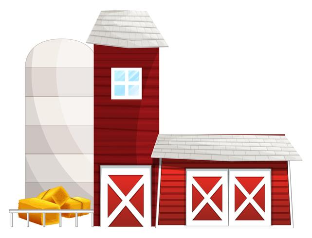 Barn with two silo towers.