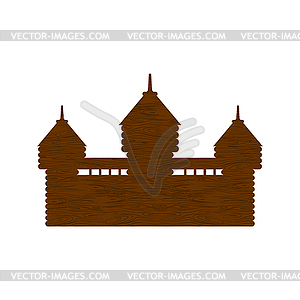Wooden fortress. timbered castle Tower. Old outpost.