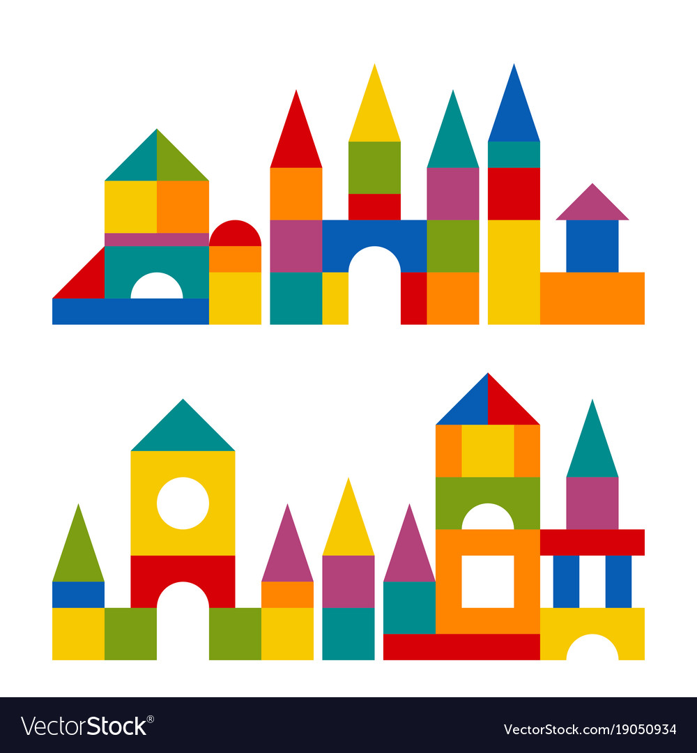 Colorful blocks toy building tower castle house.