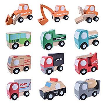 Amazon.com: 12pcs/lot Wooden Vehicle Cars Set Baby Kids.