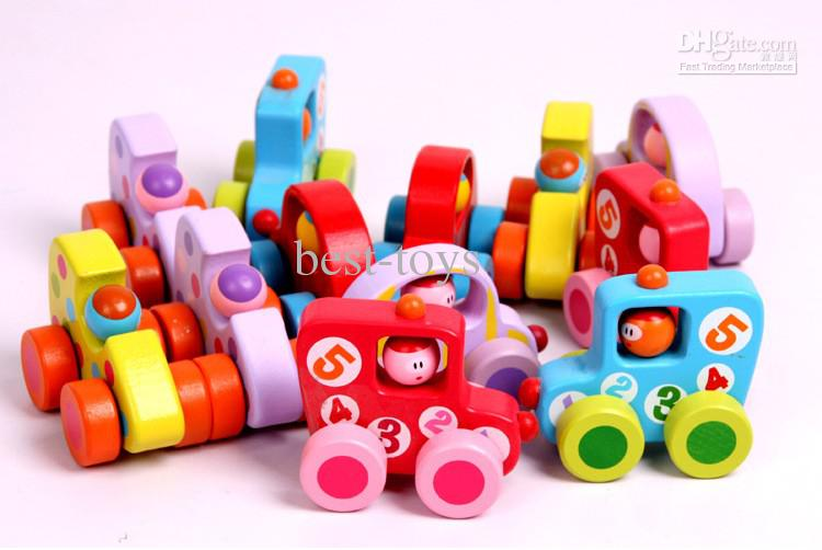 Wholesale Wooden toy mini car color mini wooden cartoon car.