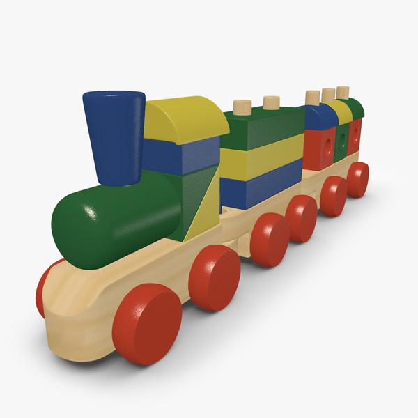 3d model wooden toy train.