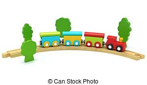 Clip Art Wooden Train Set Clipart.