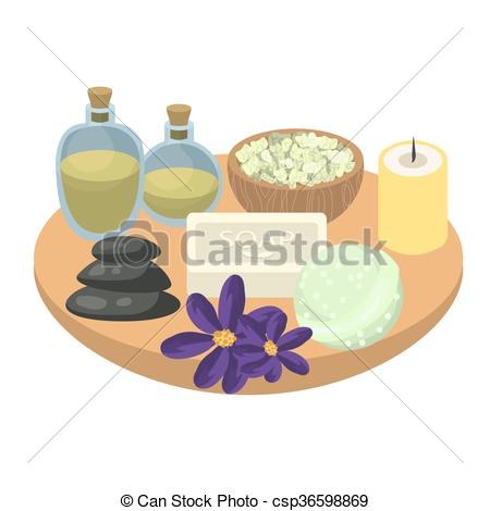 Clip Art Vector of Spa set accessories on wooden tray. Aroma oils.