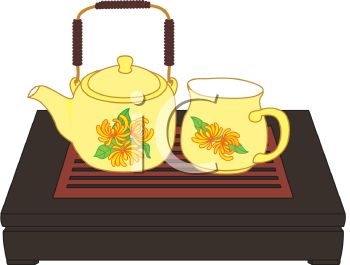 Royalty Free Clip Art Image: Tea Set on a Wooden Bed Tray.