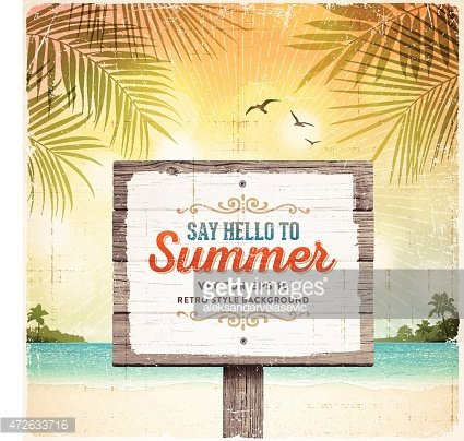 Tropical Retro Beach Summer Wooden Sign Background Clipart.
