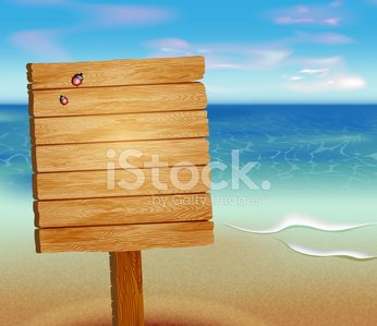 tropical beach with a wooden sign Clipart Image.