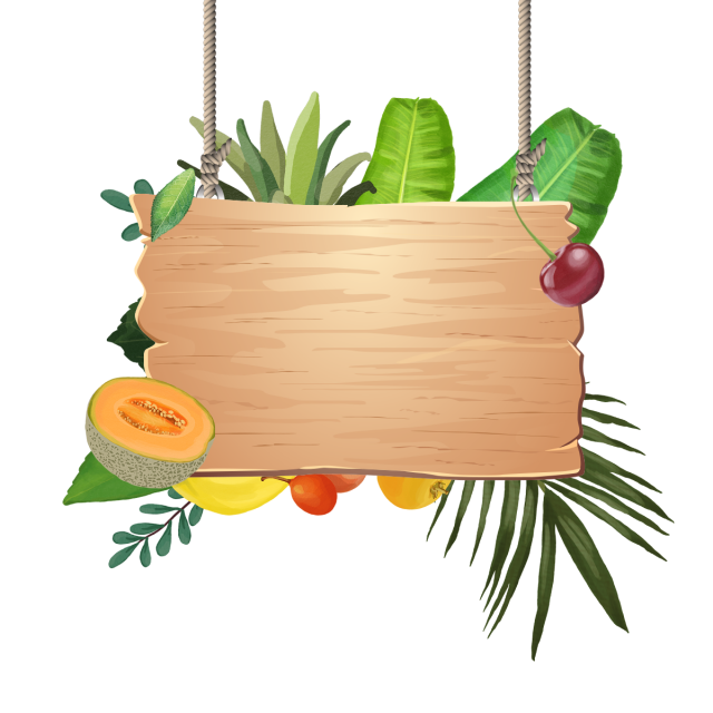 Decoration Of Tropical Fruits With Wooden Hanging, Tropical.