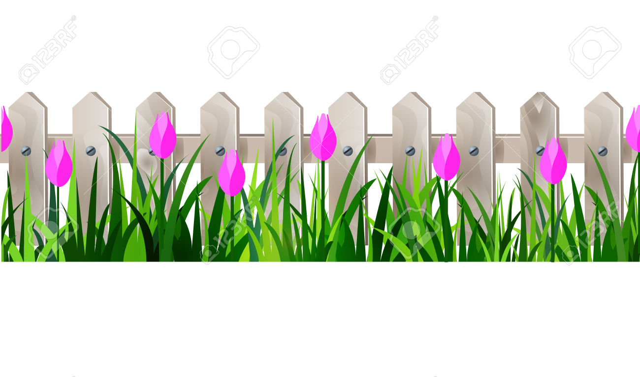 Green Grass And White Wooden Fance Seamless Isolated Clip Art.
