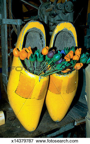 Picture of Pair of yellow clogs filled with wooden tulips, Marken.